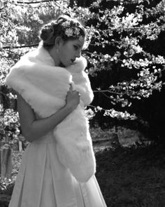 Faux fur bridal wrap, winter bride, by Blanche in the Brambles. Headdress Hermione Harbutt Florrie