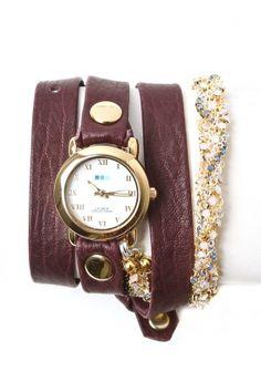la mer - women\'s crystal plum chain wrap watch (eggplant\ gold circle case) - La Mer | 80\'s Purple