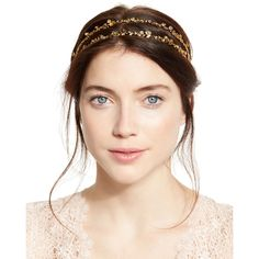 Jennifer Behr Coralie Crystal Double Head Wrap (32,210 INR) ❤ liked on Polyvore featuring accessories, hair accessories, gold, hair band headband, crystal hair accessories, floral headwrap, jennifer behr headband and hair bands accessories