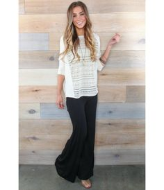 Flare Knit Pants. Stay comfy this spring with these black knit pants. Perfect to wear with a basic tee or dress it up a little with a patterned top. Buy them now at bohme.com