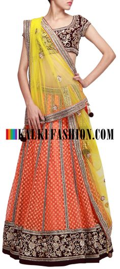 Buy Online from the link below. We ship worldwide (Free Shipping over US$100) http://www.kalkifashion.com/lime-green-and-orange-lehenga-embellished-in-sequence-embroidery-only-on-kalki.html Lime green and orange lehenga embellished in sequence embroidery only on Kalki