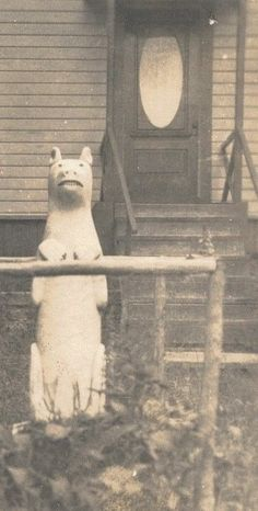 1920's Photo of Folk Art Animal Carving in Front Yard