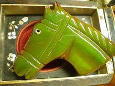 Rare Bakelite Figural Horse Head  Brooch Absinthe by faciasmom, $85.00