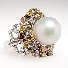 South Sea Pearl & Fancy Diamond Cocktail Ring 18K White Gold Stunning