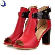 ¡ Caliente!! nuevo cuero genuino verdadero zapatos de tacón alto peep toe moda mujeres calzado sexy sandalias casuales tamaño…