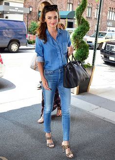 Miranda Kerr does the denim-on-denim look incredibly well. // #Fashion #Style