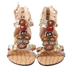 Bohemia Bead Crystal Hollow Out National Wind Retro Peep Toe Buckle... ($25) ❤ liked on Polyvore featuring shoes, sandals, yellow flats, peep toe flats, buckle sandals, crystal sandals and red flat shoes