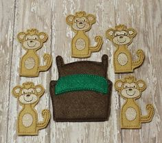 Five Little Monkeys Jumping On The Bed finger puppet set, story game, embroidered, montessori, home school, homeschool, math game, counting