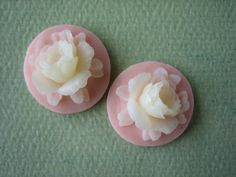 2PCS  Rose Flower Cabochons  Resin  Ivory on Pale Pink by ZARDENIA, $1.50