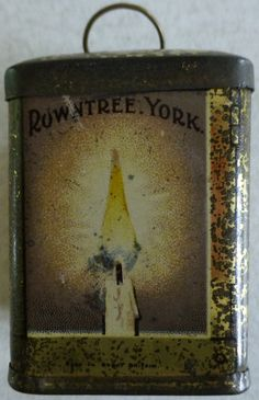 Rowntree's miniature tin shaped as a lantern with Rowntree York on it and Regd in Great Britain, originally contained a sachet of cocoa