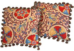 "Turkish Suzani Print Pillows – 4004P - Two 19"" pillows in a colorful heavy cotton Suzani print with multi-color tassel fringe trim. #decorator pillows #Suzani print pillows #Turkish pillows"