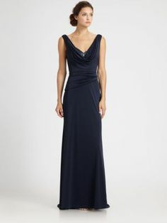 Halston Heritage - Asymmetrical Crepe Cowlback Gown - Saks.com