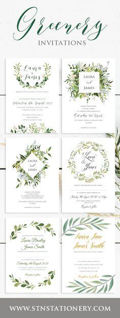 Greenery themed wedding invitations.
