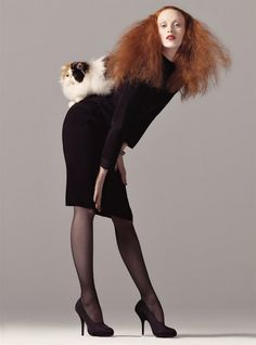 Karen Elson by Steven Meisel as Grace Coddington for italian Vogue