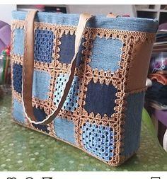 Blue and brown crochet tote bag taschen Crochet Tote, Crochet Handbags, Crochet Purses, Knit Crochet, Diy Sac, Denim Crafts, Patchwork Bags, Denim Bag, Knitted Bags