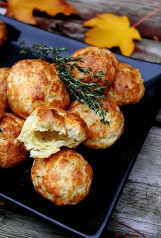 These are Cheddar-Thyme Gougères with creamy goat cheese filling!! A little time consuming but really great Hors d'oeuvres Basic Recipe M...