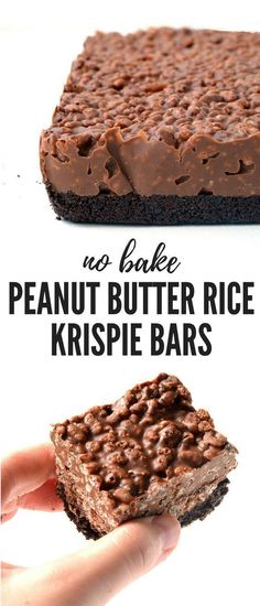 Butter Rice Krispie Bars Amazing no bake Peanut Butter Rice Krispie Bars with an Oreo crust. You only need 6 ingredients to make these gorgeous chocolate treats! Recipe from Amazing no bake Peanut Butter Rice Krispie Bars with an Oreo crust. Rice Krispie Bars, Peanut Butter Rice Krispies, Oreo Rice Krispie Treats, Chocolate Rice Krispies, Recipes Using Rice Krispies, Rice Krispy Treats Recipe, Bon Dessert, Quick Dessert, Dessert Healthy