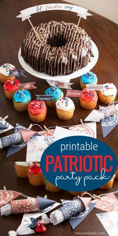 Printable 4th of July Patriotic Party Pack for Summer BBQs - Add the perfect finishing touch to your summer BBQ wit this red white and blue printable party decor and invitation set! Choose from 2 fillable invitations, plus easy printable cupcake toppers, cake topper, firework bunting, and paper firecracker party favors to fill with treats. #remodelaholic #4thofJuly #summerparty #redwhiteandblue 4th Of July Fireworks, Fourth Of July, Party Invitations, Party Favors, Invitation Set, Party Printables, Free Printables, I Party, Party Ideas