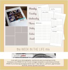 A week in the life mix | free printable journal cards, by Smitha. #ProjectLife #Scrapbooking