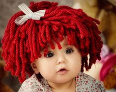 This is sooooo cute! Baby Hat Crochet Hat Pattern  Look Like Raggedy Ann wig by Amarmi, $5.00
