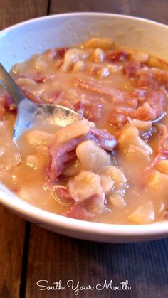South Your Mouth: Ham and Beans _ Dried butter beans and ham as a hearty soup or served over rice!