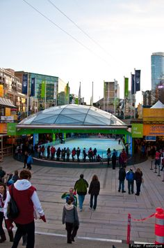 "Robson Square, Vancouver: Two glass domes, skating rinks and a downtown UBC campus, this underground public space was a hotbed of activity during the 2010 Olympic Winter Games. Architect Bing Thom calls it a ""garden in the middle of the city."""