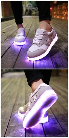 Women's Fashion Pentagram Print Rechargeable LED Light-Up Sneakers