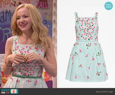 Liv's mint green dress with pink flowers on Liv and Maddie.  Outfit Details: http://wornontv.net/53276/ #LivandMaddie