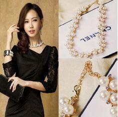 New Fashion Elegant Luxury Cluster Pearl Rhinestone Golden Choker Bib Necklace