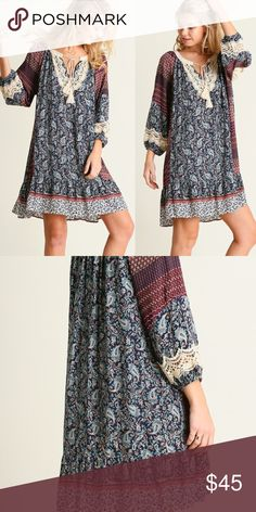 Bohemian Peasant Dress Bohemian Peasant Dress with 3/4 sleeves and crochet details. Sizes: S M L Dresses