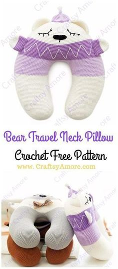 Crochet U Shape Loving Bear Travel Neck Pillow Free Pattern