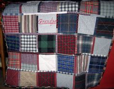 Memory quilts from plaid shirts. Amy Cavaness Designs