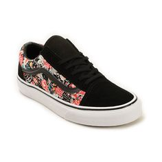 A trendy floral print canvas and Black suede upper is built atop a durable vulcanized outsole for a feminine take on an old school favorite.