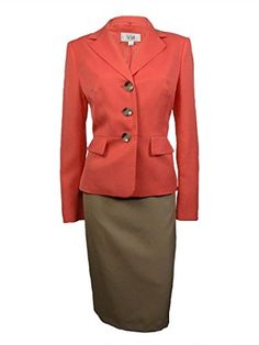 103491b353e Le Suit Womens Cozumel Three Button Skirt Suit 18 CoralKhaki   Amazon most  trusted e-