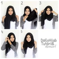 easy way to wear hijab with gown.Hijab style step by step tutorials. Square Hijab Tutorial, Simple Hijab Tutorial, Hijab Style Tutorial, Scarf Tutorial, Pashmina Hijab Tutorial, Hijab Casual, Stylish Hijab, Hijab Outfit, Casual Outfits