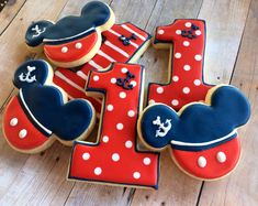 Nautical Mickey Sugar Cookies 1 dozen by LaPetiteCookie on Etsy