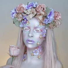 Colourful Flower Make Up Art by Kimberleymargarita_ Sfx Makeup, Costume Makeup, Makeup Art, Beauty Makeup, Makeup Geek, Flower Makeup, Fairy Makeup, Fairy Fantasy Makeup, Fantasy Hair