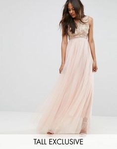 4680b6ab2ac True Decadence Tall Premium Metallic Applique Top Maxi Dress With Tulle  Skirt