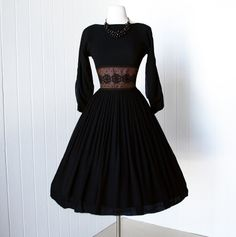 vintage 1950's dress fabulous L'AIGLON BLACK CHIFFON by traven7, $180.00...totally in love with this dress