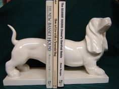 White Ceramic Basset Bookends ~ up for auction until 8/31/13 ~ 100% of winning bids go to support basset hound rescue BROOD (www.brood-va.org)