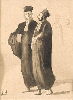 Honoré DAUMIER (Marseille 1808 -Valmondois 1879)Les deux avocats.Lavis d'encre.Monogrammé en bas à gauche.27 x 22,5 cm.