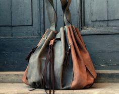 Marlena khaki /whiskey handmade leather woman handbag by ladybuq