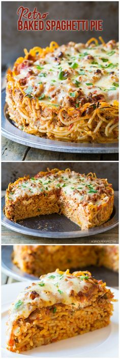 Baked Spaghetti Pie Recipe Retro Baked Spaghetti Pie Recipe - A family dinner with the essence of cozy spaghetti and meat sauce baked into a pie! You can cut diys Spaghetti Pie Recipes, Pasta Recipes, Dinner Recipes, Cooking Recipes, Spaghetti Sauce, Cheese Recipes, Hamburger Pie Recipes, Spaghetti Pizza, Spaghetti Noodles