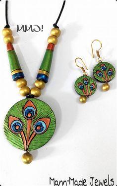 Terracotta Jewellery Making, Terracotta Jewellery Designs, Terracotta Earrings, Thread Jewellery, Clay Jewelry, Jewelry Crafts, Handmade Jewelry, Polymer Clay Pendant, Polymer Clay Earrings