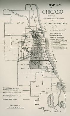 Image of Map No. 4 of Chicago Showing the Geographical Relations of the Largest Industries. University of Chicago sociologist Charles J. Bushnell included this map in his 1901 study of the neighborhood around the Union Stock Yard. Chicago Poster, Chicago Map, Chicago Shows, Chicago Area, Chicago Style, Chicago Illinois, Puerto Rico, Cuba, Chicago Pictures