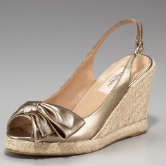 "Valentino Mena Slingback Espadrilles Excellent used condition Valentino gold metallic slingback espadrilles. Distinctive yet low key. 3.5"" wedge heel w/ 3/4"" platform. Slight wear on braided jute shown in pictures and numbers written on sole were to prevent retail returns. No box, no trades. Valentino Shoes Espadrilles"