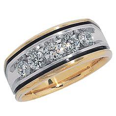 Men's 1 CT. Real Diamond Wedding Band in 14K Two-Tone Gold #Affinityjewelry #WeddingBand