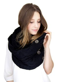 Black Knit Button Scarf - adding buttons to a homemade scarf is a nice touch too