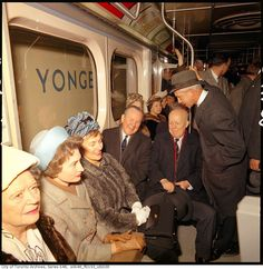 Prime Minister Lester B Pearson taking the inaugural ride on the Bloor Danforth subway line on Feb co City of a Toronto Archives. Yonge Street, Canadian Things, Toronto City, Canadian History, Health And Wellbeing, Landscape Photos, Ontario, Prime Minister