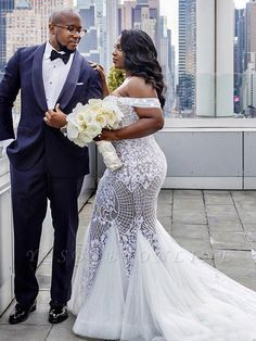 Off-The-Shoulder Trumpet/Mermaid Wedding Dresses Tulle Lace Sleeveless Chapel Train Affordable Wedding Dresses, Blue Wedding Dresses, Tulle Wedding, Cheap Wedding Dress, Designer Wedding Dresses, Flower Girl Dresses, Mermaid Wedding, Beautiful Bridal Dresses, Tulle Lace
